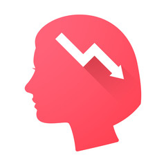 Female head icon with a graph