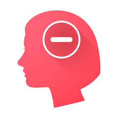 Female head icon with a subtraction sign