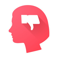 Female head icon with a thumb down hand