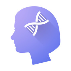 Female head icon with a DNA sign