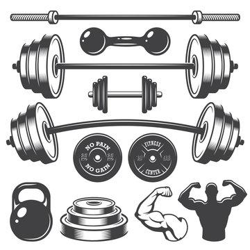 Set of vintage fitness designed elements