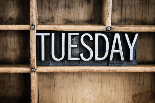 Tuesday Concept Metal Letterpress Word in Drawer