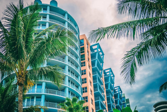 Architectural building Miami Style South Beach image filtered
