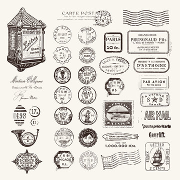 large collection of postage stamps and design elements