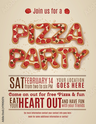 Vector pizza party flyer invitation template design stock image and vector pizza party flyer invitation template design stopboris Gallery