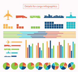 Details for cargo infographic vector illustration