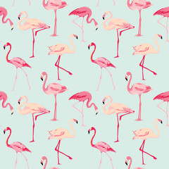 Photo on textile frame Flamingo Flamingo Bird Background - Retro seamless pattern in vector