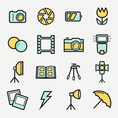 Photo icons set. Vector colored outline symbols.