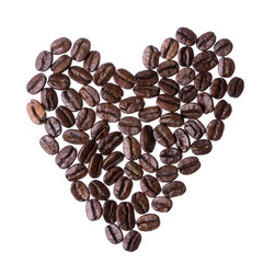 Heart from coffee beans isolated on a white background
