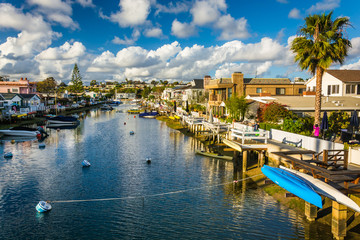 The Grand Canal, on Balboa Island, in Newport Beach, California.