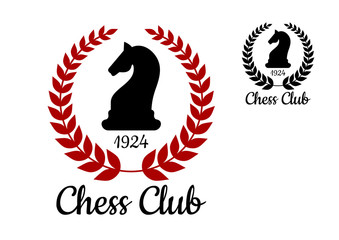 Chess club emblem with horse figure