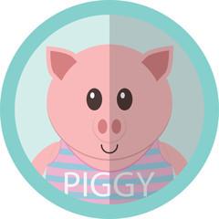 Cute piggy cartoon flat icon avatar round circle