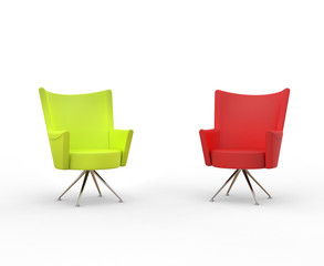 Modern armchairs - red and lime green