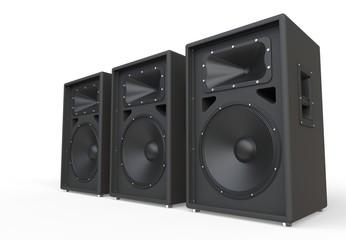 Three big concert speakers in perspective