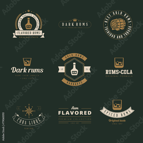 rum hipster logo design vector typography lettering templates stock