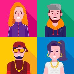 Colorful illustration of stylish people