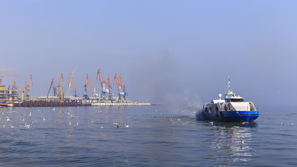 Seaport in Baku and pleasure boat