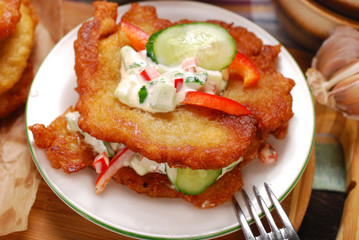 potato cakes with vegetable and mayonnaise sauce