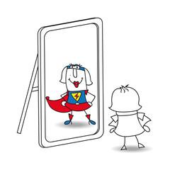 Karen super girl in the mirror