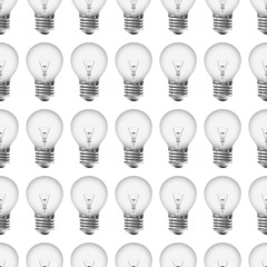 Monochrome seamless pattern with realistic light bulbs