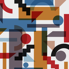 Geometric abstract background in cubism style