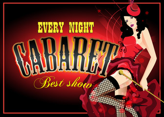Cabaret dancer in a red corset. Retro vector poster
