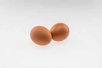 Two eggs. Isolated on white background