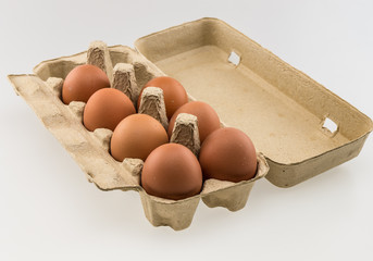 Egg box isolated on white background
