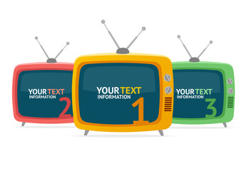 Vector retro tv option banner. Flat Design