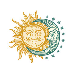 Sun, month stars Vector vintage style folklore retro