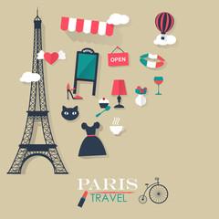 grey background Paris tourist concept image.Vacation flat vector