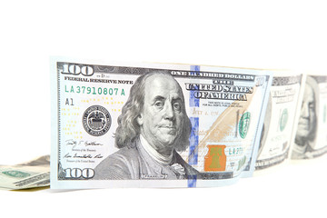 Hundred dollar bill on a white background.
