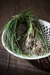bunch of wild chives on white basket on wooden table