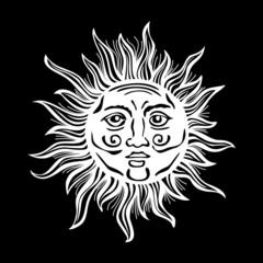 Sun retro vintage vector folk  drawing illustration