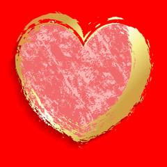 Golden Grunge Valentine's Day Heart Banner