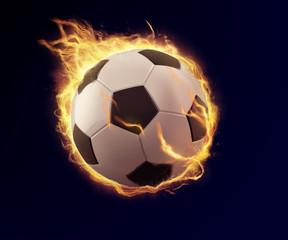 soccer ball in orange flame