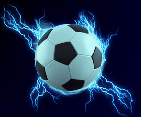 soccer ball spark with blue thunder