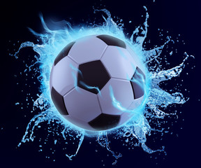 football in blue water splash