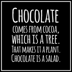 Funny, inspirational, VECTOR quotation about chocolate.