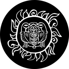 Ethnic sun with birds totem. Black and white style.