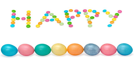 happy easter image wiht eight eggs and candys pastel colored