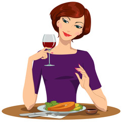 girl eating salmon Steak and drinking red wine