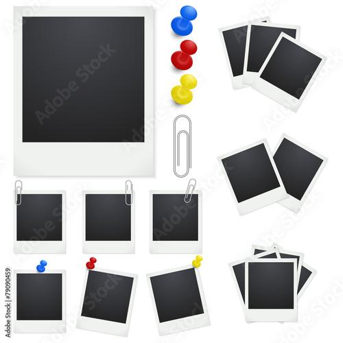 Set Polaroid photo frames with clips and thumbtacks on white\