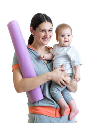 Mother ready to do fitness exercises with baby
