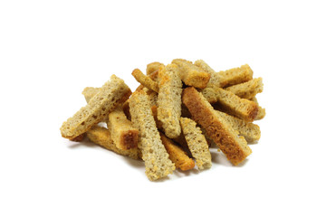a handful of rye crackers on a white background