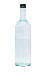 glass bottle of water on white background