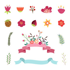 Set of Happy easter and spring design elements