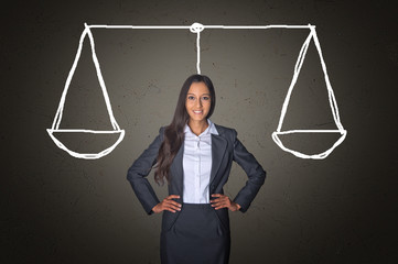Businesswoman on Gray with Justice Scale Drawing