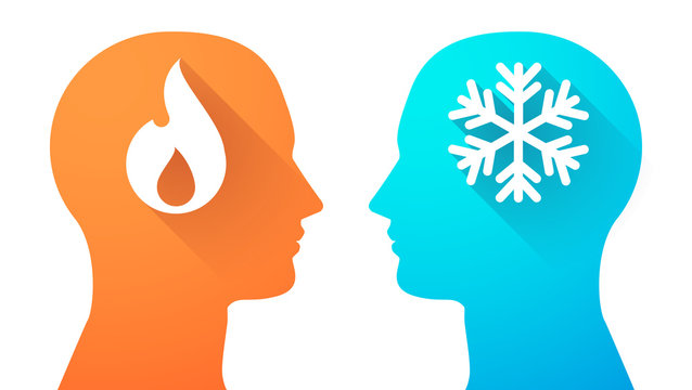 Head set with a flame and a snow flake