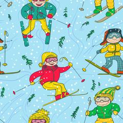 skiers seamless